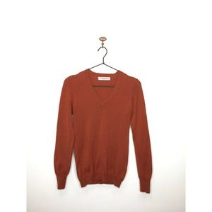 Brunella Gori Orange Wool V-Neck Sweater Italian S